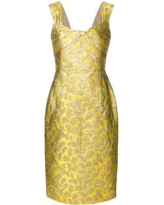 prada floral baroque fitted dress yellow - S/LESS BAROQUE DRESS